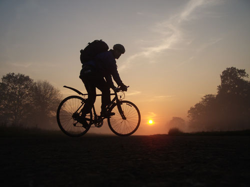 Biking at sunset through Richmond Park